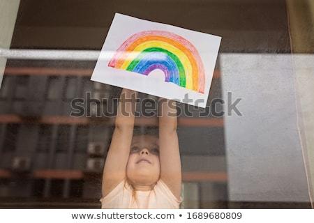Hoop tiener meisje tonen tekst papier Stockfoto © manaemedia
