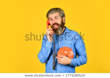 Stockfoto: Man · retro · telefoon · grijs · kantoor · telefoon