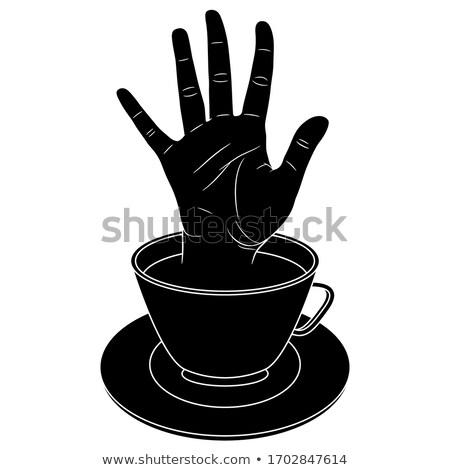 Durdurmak kafein açmak el imzalamak boyalı Stok fotoğraf © tashatuvango