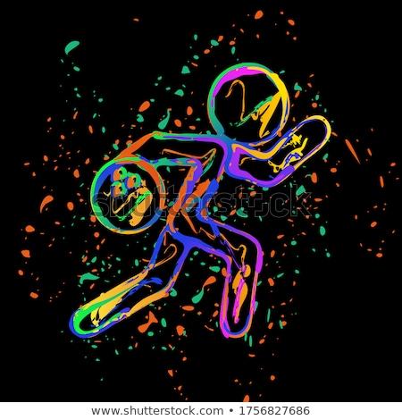 Inchiostro splatter bowling design palla cool Foto d'archivio © alexmillos