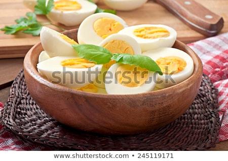 Főtt tojás reggeli húsvét narancs kenyér tej Stock fotó © M-studio