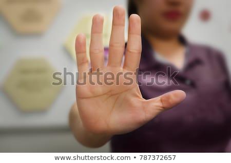 Nők nem megengedett felirat háttér nyíl Stock fotó © alexmillos