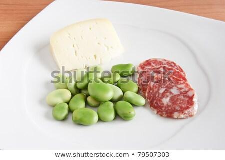 salami sliced pecorino and broad beans Stock photo © Antonio-S