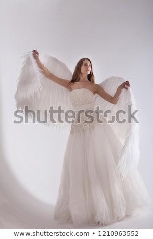 Femme ailes d'ange isolé blanche amour heureux Photo stock © Elnur
