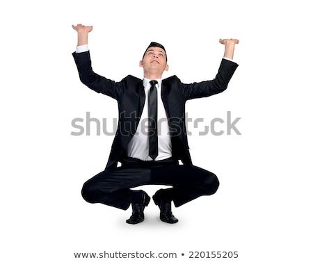 businessman pushing something over white background stock photo © andreypopov