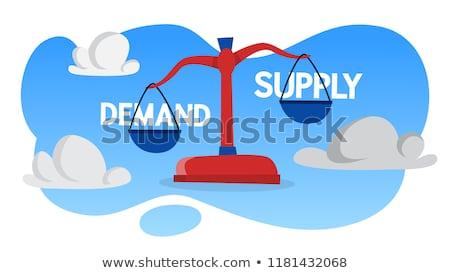 Nachfrage liefern Maßstab Hand Zeichnung schwarz Stock foto © ivelin