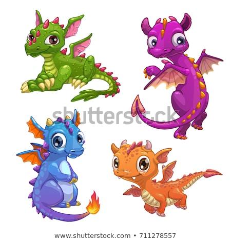kicsi · dinoszaurusz · kicsi · fehér · aranyos · rajz - stock fotó © carodi