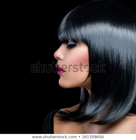 Brunette Woman With Black Short Hair. Haircut. Hairstyle. Fringe Stock photo © Victoria_Andreas