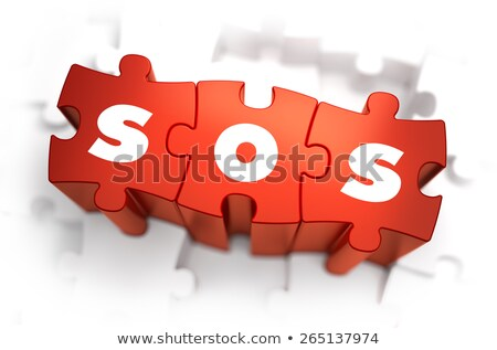 Stock fotó: Sos - Text On Red Puzzles