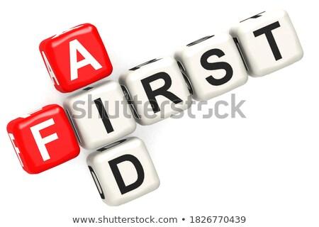 Aids - Text on Red Puzzles with White Background. Stock photo © tashatuvango