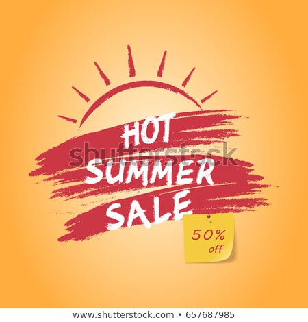 super summer sale with sun sign, yellow and orange drawn label Stock photo © marinini