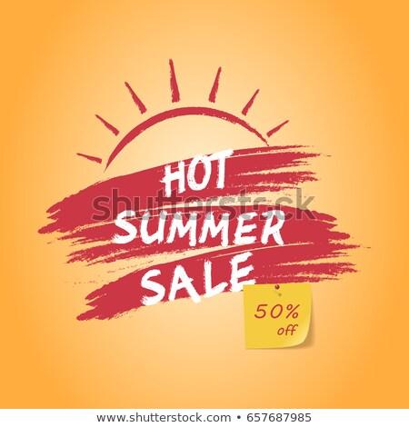 super summer sale with sun sign yellow and orange drawn label stock photo © marinini