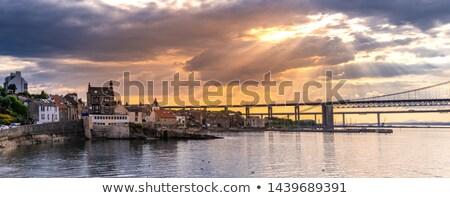 estrada · ponte · madrugada · escócia · céu · pôr · do · sol - foto stock © elxeneize