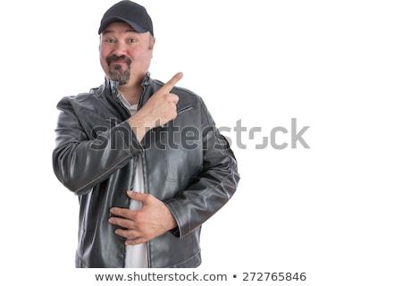 Trendi férfi mutat copy space középkorú kecskeszakáll Stock fotó © ozgur