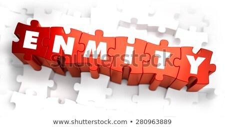 Enmity - White Word on Red Puzzles.  Stock photo © tashatuvango