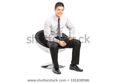 小さな · ビジネスマン · 座って · 椅子 · ビジネス - ストックフォト © feedough