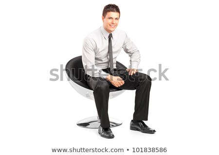 peinzend · jonge · toevallig · man · vergadering · stoel - stockfoto © feedough