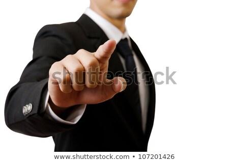focused businessman pushing with hands stock photo © wavebreak_media