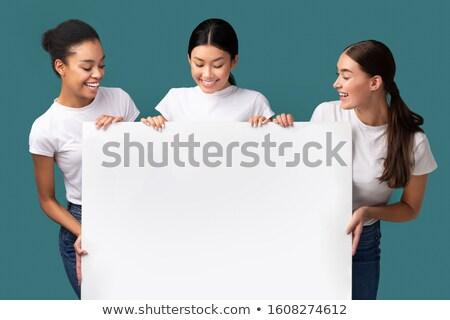 Foto d'archivio: Tre · ragazze · vuota · bordo · bella