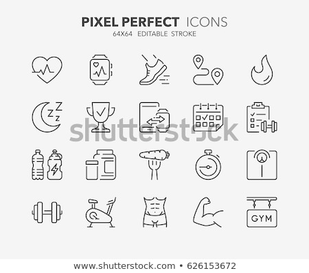 man in fitness and exercise thin line icon stock photo © rastudio