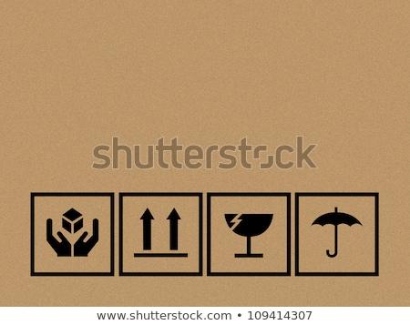 Fekete törékeny szimbólum karton barna papír doboz Stock fotó © scenery1