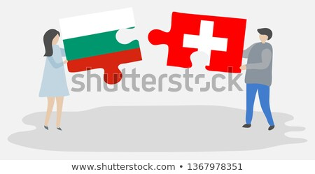 Svájc Bulgária zászlók puzzle vektor kép Stock fotó © Istanbul2009