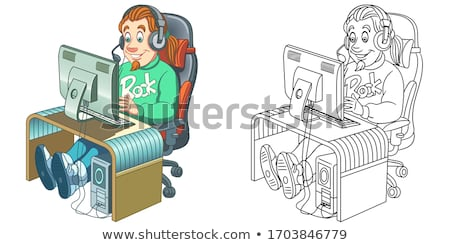 Drawn colored picture with computer icons Stock photo © cherezoff