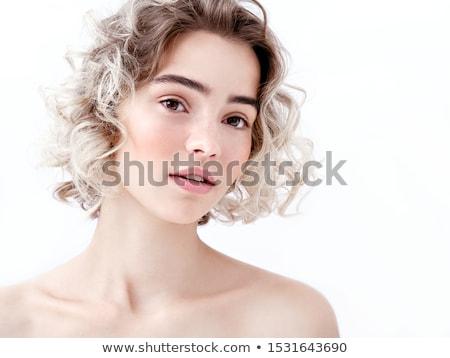 Portré bájos nő friss bőr szürke Stock fotó © deandrobot