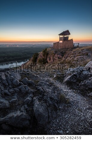 Wooden Tourist Observation Tower over a Landscape at Dusk Stock photo © Kayco