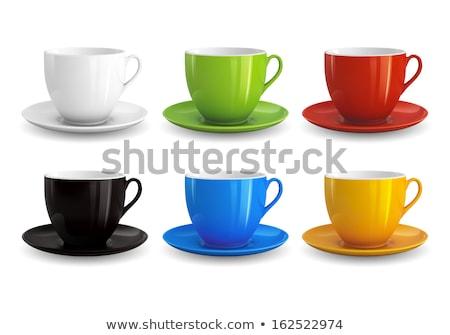 Narancs csésze csészealj izolált fehér üveg Stock fotó © artfotoss