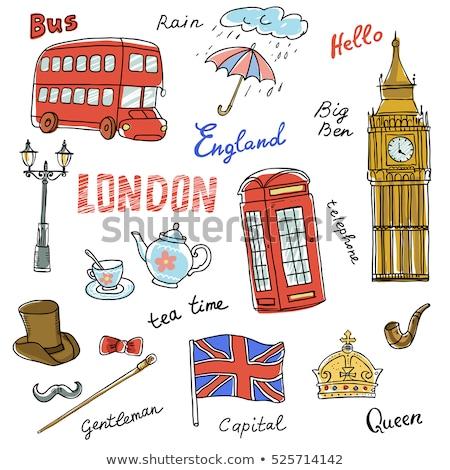 Vector dibujado a mano Londres establecer Big Ben reloj Foto stock © netkov1