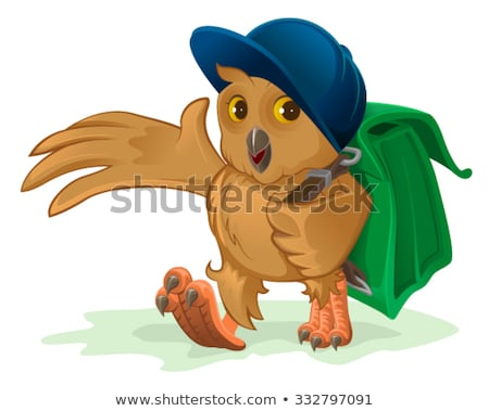 Owl schoolboy goes to school with his satchel behind Stock photo © orensila