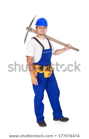Büszke építőmunkás váll építkezés kék ipar Stock fotó © lightkeeper