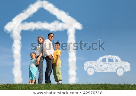 Zdjęcia stock: Rodziny · cztery · marzenia · domu · samochodu · kolaż