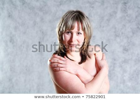 Foto stock: Topless · mulher · corpo · grande · peito · beleza