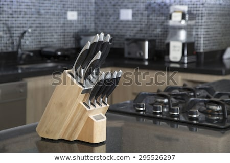 kés · fekete · penge · fából · készült · fogantyú · izolált - stock fotó © shutswis