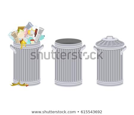Prullenbak groep gebruikt vuilnis metaal mand Stockfoto © stevanovicigor