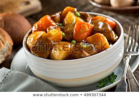 Rundvlees groenten stoven eigengemaakt rundvleesstoofpot wortelen Stockfoto © zhekos