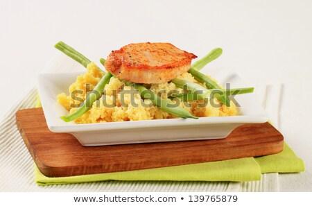 マリネ 豚肉 クスクス サヤインゲン 皿 白 ストックフォト © Digifoodstock