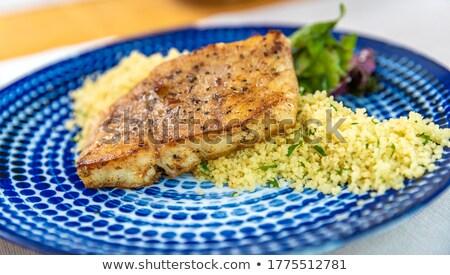 Gemarineerd varkensvlees couscous geserveerd voedsel diner Stockfoto © Digifoodstock