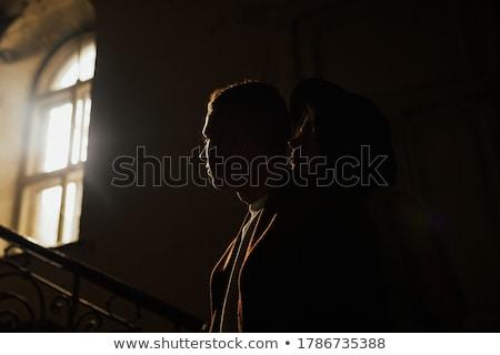 fiatal · esküvő · pár · áll · ablak · élvezi - stock fotó © artfotodima