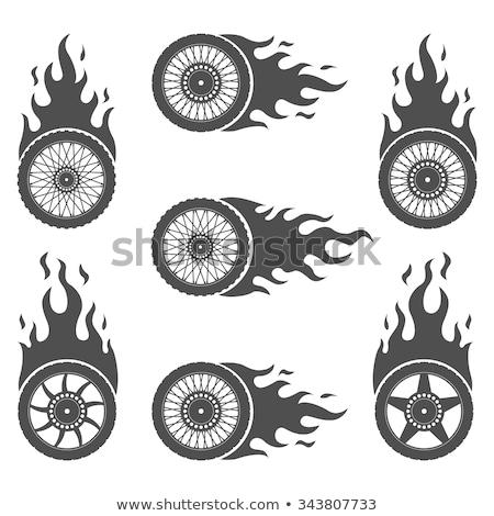 llameante · rueda · vector · negro · velocidad · carreras - foto stock © djdarkflower