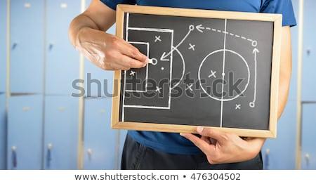 Foto stock: Fútbol · entrenador · juego · estrategia · partido · de · fútbol · marcador