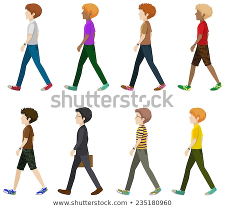 Eight gentlemen walking without faces Stock photo © bluering