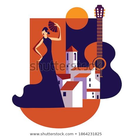 üdvözlőlap · flamenco · stílus · virág · nyár · szövet - stock fotó © carodi