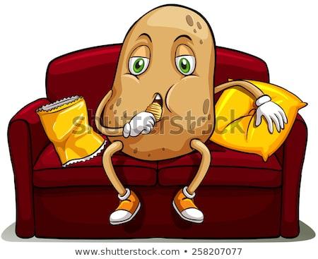 sofá · batata · desenho · animado · ilustração · olhando - foto stock © bluering