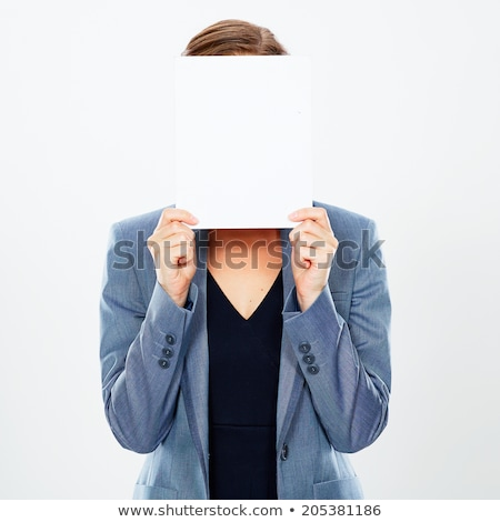 Cute young woman hiding her face behind blank white board Stock photo © deandrobot