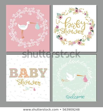 bebek · duş · kart · suluboya · çiçekler · vektör - stok fotoğraf © balasoiu