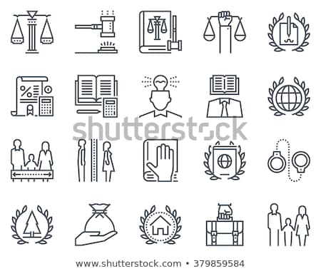law and justice black icons set stock photo © genestro