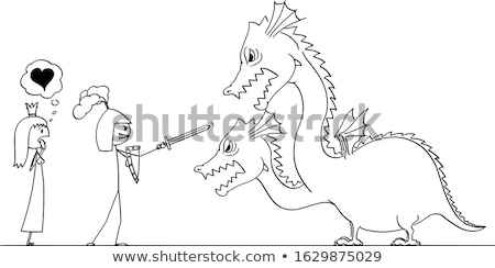 Prince fighting and killing dragons Stock photo © bluering